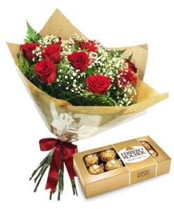 floricultura online e entrega de flores - buquê 12 rosas e ferrero
