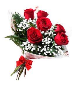entrega de flores - buquê 6 rosas vermelhas