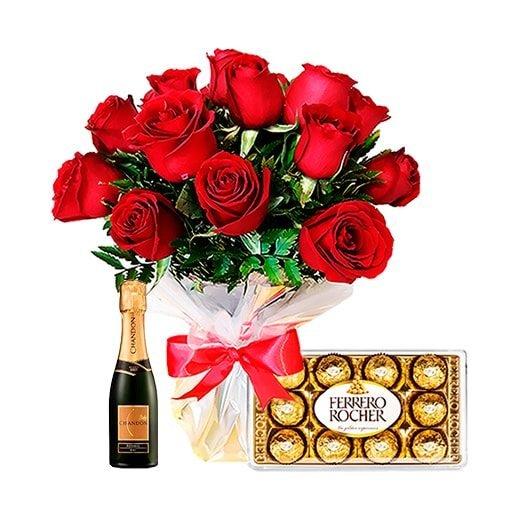 Floricultura e entrega de buquê de rosas e chocolates