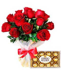 Floricultura e entrega de buquê 15 rosas e ferrero