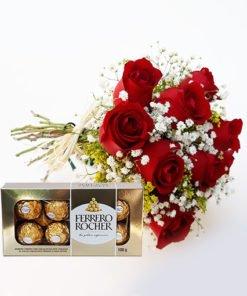 Buquê 9 rosas amarelas e ferrero, floricultura e entrega de flores