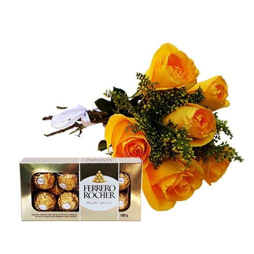 buquê 6 rosas amarelas e ferrero, floricultura e entrega de flores